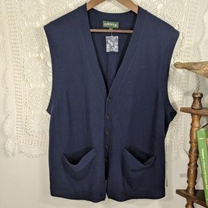NWOT Orvis navy wool button up vest